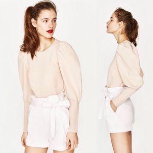 NWT Zara TRF Trafaluc Medium Pleated Shorts Bow